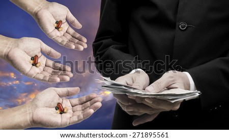 Medicine business concept, Businessman count the banknote for buy drug - stock photo