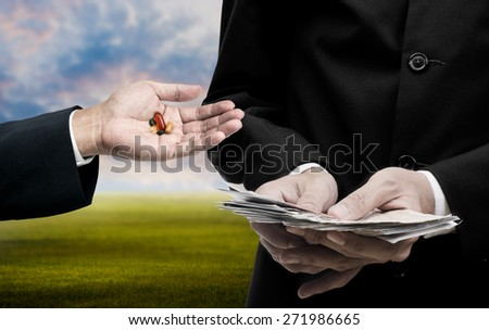 Medicine business concept, Businessman count the banknote for trading medicine - stock photo