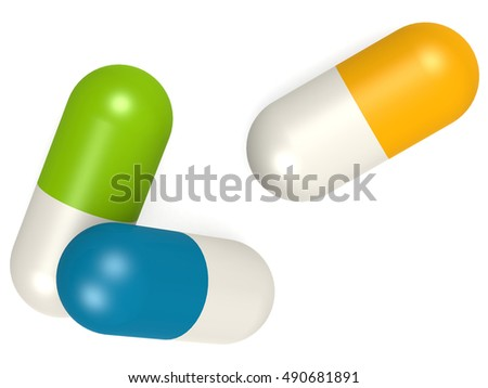 Medicine capsules isolated on white background, 3D rendering