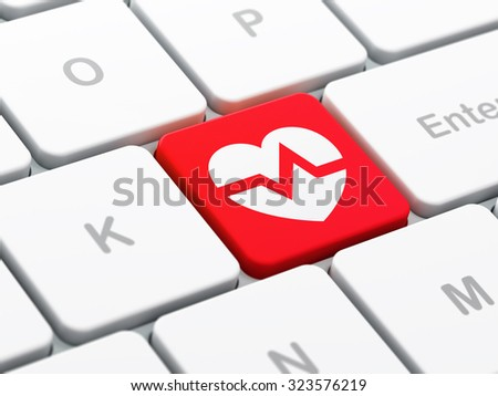 Medicine concept: computer keyboard with Heart icon on enter button background, selected focus, 3d render - stock photo