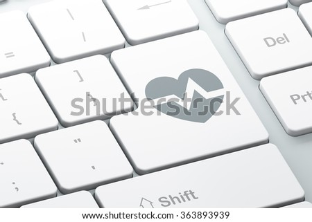 Medicine concept: Heart on computer keyboard background - stock photo