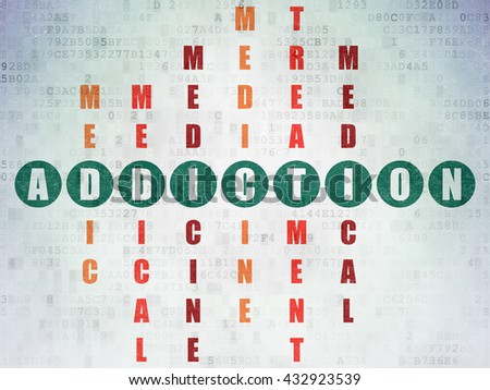 Medicine concept: Painted green word Addiction in solving Crossword Puzzle on Digital Data Paper background - stock photo