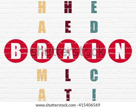 Medicine concept: Painted red word Brain in solving Crossword Puzzle - stock photo