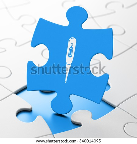 Medicine concept: Thermometer on Blue puzzle pieces background, 3d render