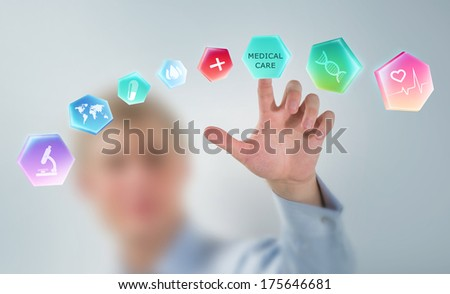 Medicine doctor hand working with modern medical icons - stock photo