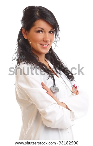 Medicine doctor, woman with stethoscope - stock photo