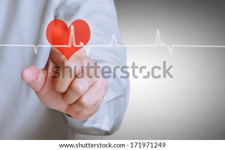 Medicine doctor working pushing heart