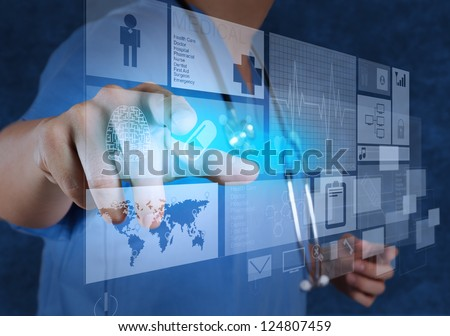 Medicine doctor working with modern computer interface - stock photo