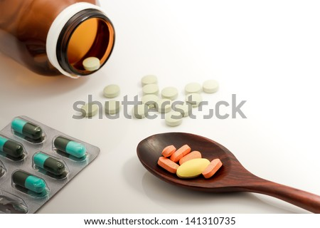 Medicine for treatment of illness. Health care and medical.