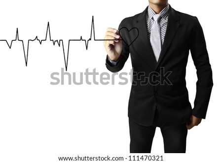 Medicine, Hand drawing heart - stock photo