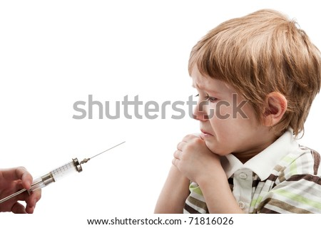 Medicine healthcare syringe injecting scared child - stock photo