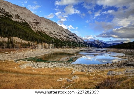 Medicine Lake, Jasper National Park, Alberta, Canada - stock photo