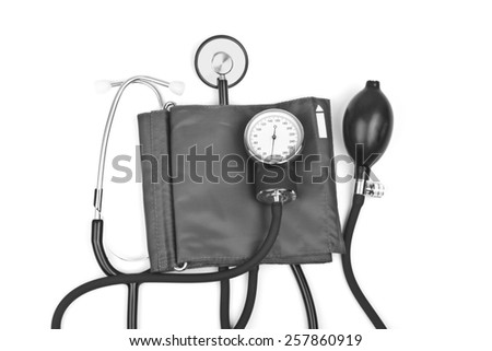 medicine object. blood pressure with stethoscope isolated on white background - stock photo