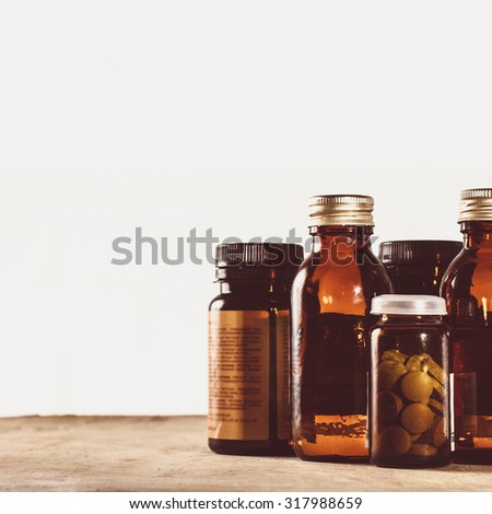 Medicine on a table. - stock photo