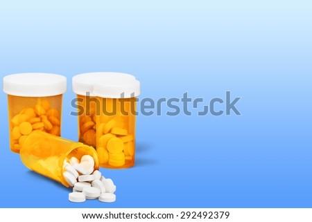 Medicine, Pill, Bottle. - stock photo