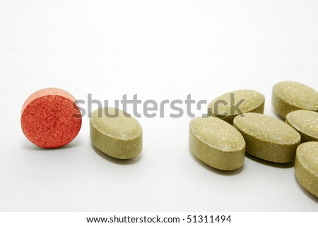Medicine pills with different color.