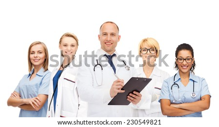 medicine, profession, teamwork and healthcare concept - international group of smiling medics or doctors with clipboard and stethoscopes over white background - stock photo