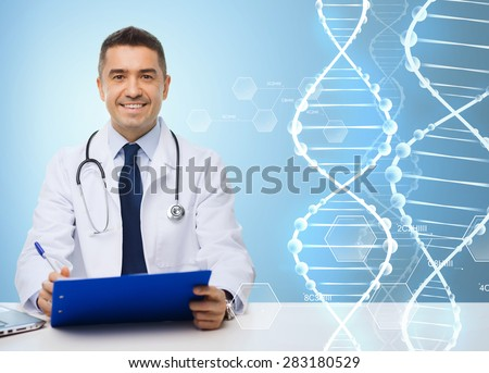 medicine, profession, technology and people concept - happy male doctor with clipboard and stethoscope over blue background and dna molecule structure  - stock photo