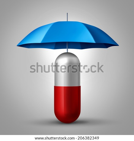 Medicine protection and drug safety concept as a health care symbol with a capsule pill with an umbrella protecting the pharmaceutical icon. - stock photo