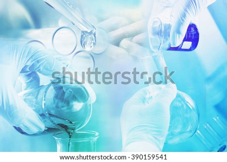 medicine research at science lab background - stock photo