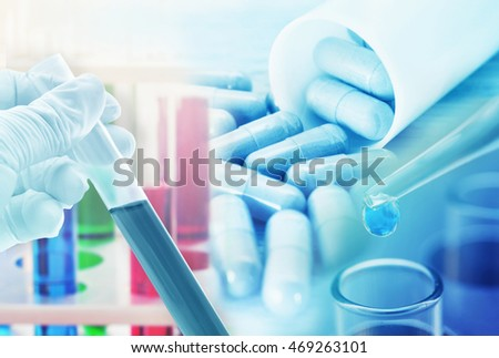 medicine research product at science lab ,pharmaceutical background