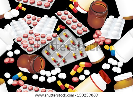 Medicine seamless pattern. Colorful tablets with capsules and pill bottle on black background. - stock photo
