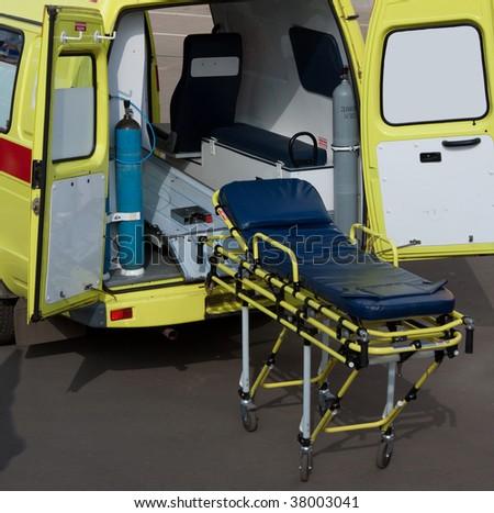 Medicine service emergency transportation gurney - stock photo