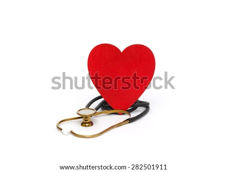 Medicine stethoscope and heart are isolated on white background - stock photo