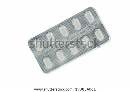 Medicine tablet in transparent blister pack and shadow effect