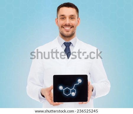 medicine, technology, people and biology concept - smiling male doctor showing tablet pc computer screen with molecular model over blue background - stock photo