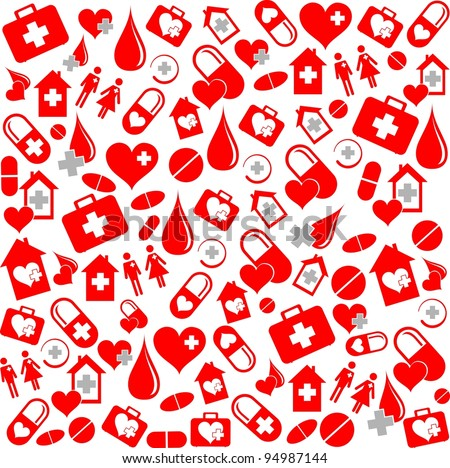 Medicine vector seamless pattern.  Illustration - stock photo