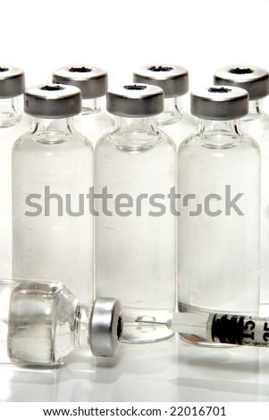 Medicine Vials and Syringe - stock photo