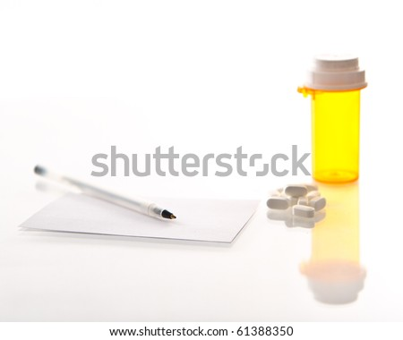 Medicine with prescription and bottle - stock photo