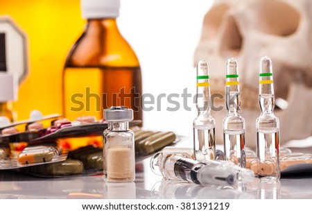 medicines and drugs isolated on white