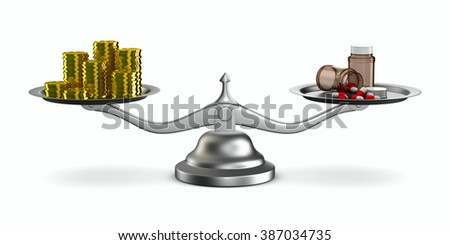 Medicines and money on scales. Isolated 3D image - stock photo