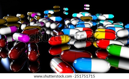 medicines in pill of different colors rendered in 3d  - stock photo