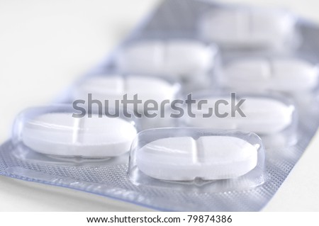 Medicines pills on a white background