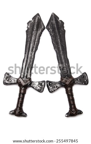 Medieaval swords isolated on the white - stock photo