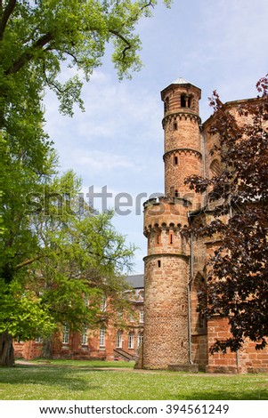 medieval abbey at mettlach, historic building saarland - stock photo