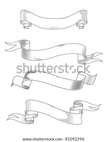 Medieval abstract ribbons set for heraldry design. Vector version also available in gallery - stock photo