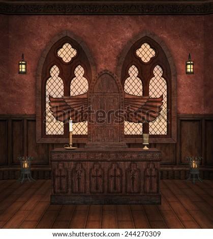 Medieval altar - stock photo