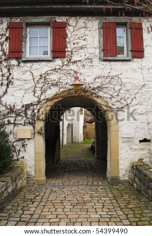 Medieval arch in the fortress courtyard. Stuttgart - Freiberg am Neckar, Baden Wurttemberg, Germany - stock photo