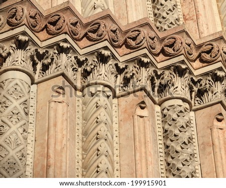 medieval architectural details of Modena city hall, Italy - stock photo