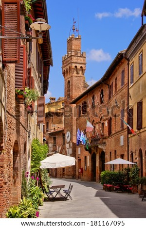 Medieval architecture of a small town in Tuscany, Italy - stock photo