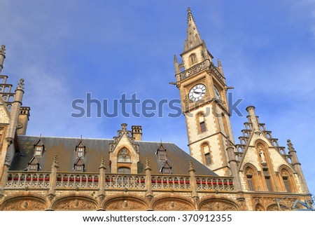 Medieval architecture of the Old Post Office in Ghent old town, Belgium - stock photo