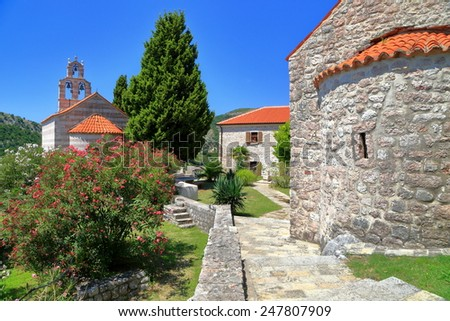 Medieval architecture of traditional church in Mediterranean area, Montenegro - stock photo