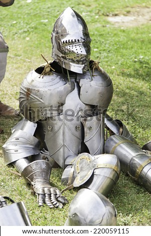 Medieval armor, armor detail ancient war - stock photo