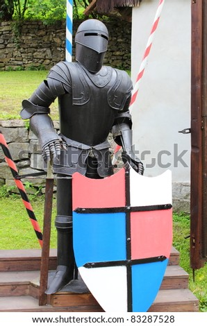 Medieval armor with lance and shield