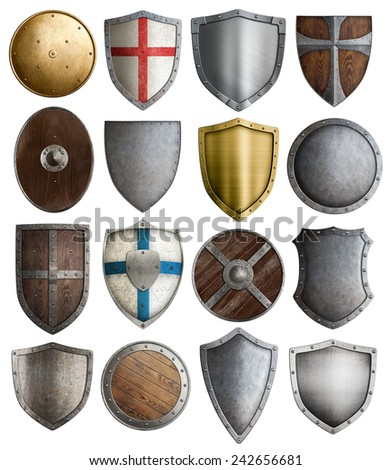 medieval armour and knight shields assortment - stock photo