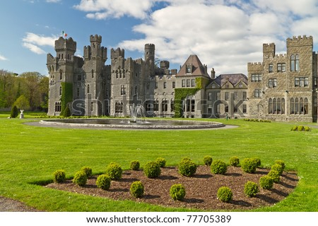 Medieval Ashford castle and gardens - Co. Mayo - Ireland - stock photo
